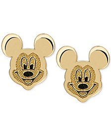 Children's Mickey Mouse Head Stud Earrings in 14k Gold