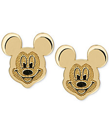 Disney© Children's Mickey Mouse Head Stud Earrings in 14k Gold