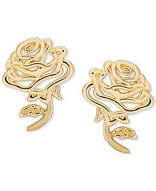 Disney© Children's Belle Rose Stud Earrings in 14k Gold