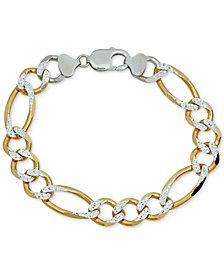 Men's Two-Tone Figaro Link Bracelet in Sterling Silver & 14k Gold-Plate