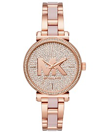 Michael Kors Women's Sofie Rose Gold-Tone Stainless Steel and Blush Acetate Bracelet Watch 36mm