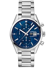 Men's Swiss Automatic Chronograph Carrera Calibre 16 Stainless Steel Bracelet Watch 41mm