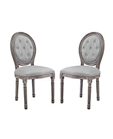 Modway Arise Vintage French Upholstered Fabric Dining Side Chair Set of 2