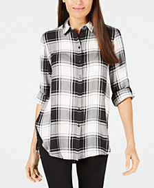 Calvin Klein Plaid Collared Tunic