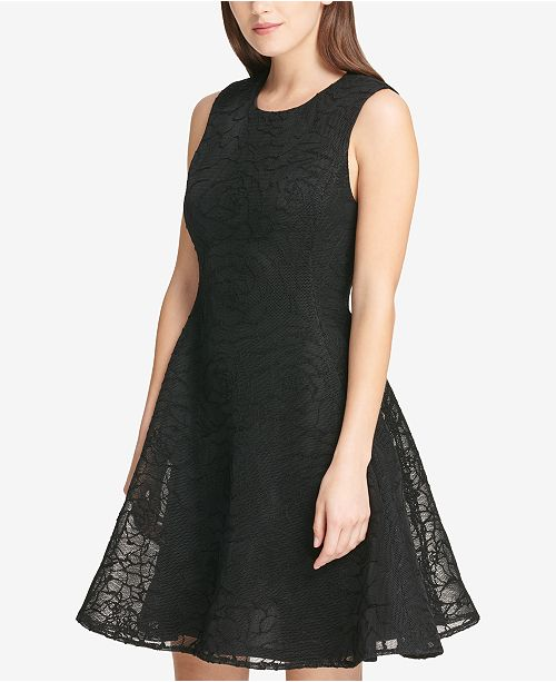 63ad7626f0 ... DKNY Textured Mesh Fit   Flare Dress