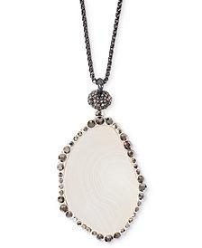 "Lucky Brand Silver-Tone Pavé & Stone 32"" Pendant Necklace"