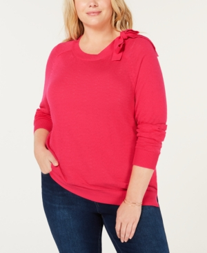 525 America PLUS SIZE COTTON BOW SWEATER, CREATED FOR MACY'S