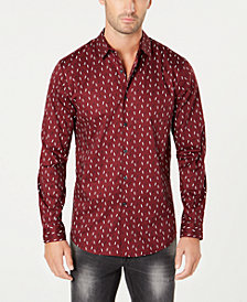 I.N.C. Men's Slim-Fit Ditsy Lightning Bolt Long Sleeve Shirt, Created for Macy's