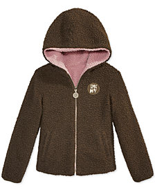 DKNY Big Girls Hooded Reversible Faux-Fur Jacket