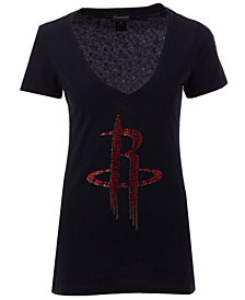 Gameday Couture Women's Houston Rockets Sequin Wordmark T-Shirt