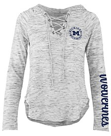 Pressbox Women's Michigan Wolverines Spacedye Lace Up Long Sleeve T-Shirt
