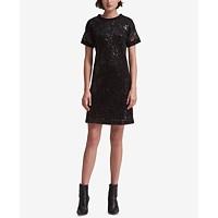 DKNY Short-Sleeve Sequin Dress