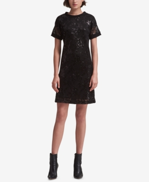 Dkny SHORT-SLEEVE SEQUIN DRESS