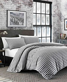 Preston Full/Queen Dark Grey Flannel Duvet Cover Set
