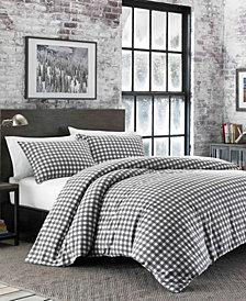 Eddie Bauer Preston Twin Dark Grey Flannel Duvet Cover Set