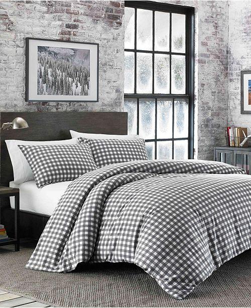 Eddie Bauer Preston Full/Queen Dark Grey Flannel Comforter Set
