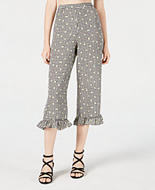 Material Girl Juniors' Printed High-Waist Cropped Pants, Created for Macy's