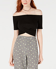 Material Girl Juniors' Off-The-Shoulder Twist-Back Crop Top, Created for Macy's