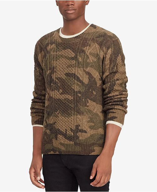 Polo Ralph Lauren Mens Camouflage Cable Knit Sweater Sweaters