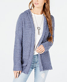 Say What? Juniors' Open-Front Hoodie Cardigan Sweater