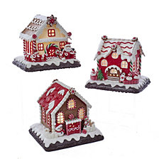Kurt Adler Battery Operated Red and White Icing LED Gingerbread Houses, 3 Assorted