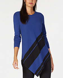 Alfani Asymmetrical Colorblocked Sweater, Created for Macy's