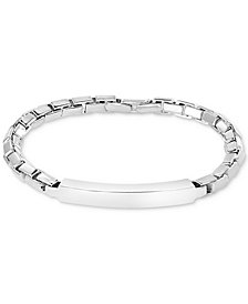 EFFY® Men's ID Plate Box Link Bracelet in Sterling Silver