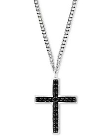 "EFFY® Men's Black Spinel Cross Pendant Necklace 22"" in Sterling Silver"
