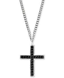 "EFFY® Men's Black Spinel Cross Pendant Necklace 22"" in Sterling Silver"