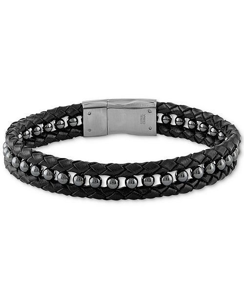 56570e8536731 Esquire Men's Jewelry Hematite (4mm) Black Leather Braided Bracelet ...