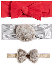 First Impressions Baby Girls 3-Pk. Faux-Fur & Bows Headbands, Created for Macy's