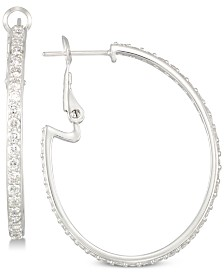 Simone I. Smith Cubic Zirconia Hoop Earrings in Sterling Silver