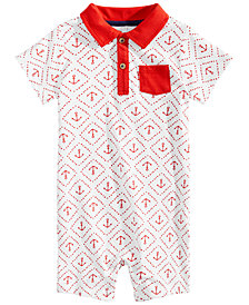 First Impressions Baby Boys Anchor-Print Cotton Romper, Created for Macy's