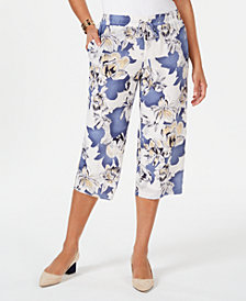 JM Collection Floral-Print Pull-On Capris, Created for Macy's