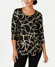Petite Metallic-Print Top, Created for Macy's