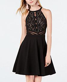 Morgan & Company Juniors' Lace-Trim Mesh-Inset Fit & Flare Dress