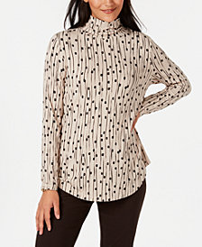 JM Collection Printed Turtleneck Top, Created for Macy's