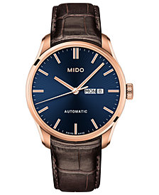 Mido Men's Swiss Automatic Belluna II Brown Leather Strap Watch 42.5mm