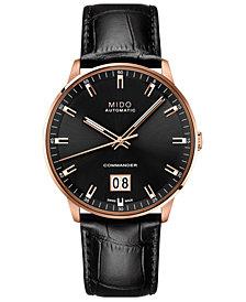 Mido Men's Swiss Automatic Commander II BigDate Black Leather Strap Watch 42mm