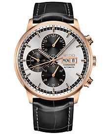 Men's Swiss Automatic Chronograph Commander Black Leather Strap Watch 42.5mm