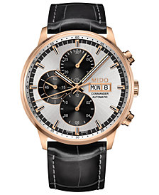 Mido Men's Swiss Automatic Chronograph Commander Black Leather Strap Watch 42.5mm