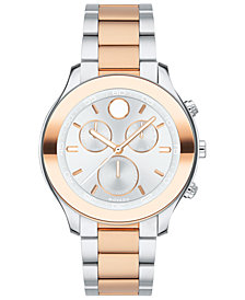 Movado Women's Swiss Chronograph BOLD Two-Tone Stainless Steel Bracelet Watch 39mm