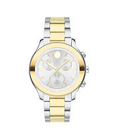 Movado Women's Swiss Chronograph BOLD Two-Tone Stainless Steel Bracelet Watch 39mm