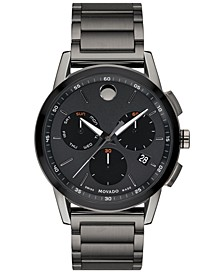 Men's Swiss Chronograph Museum Sport Gunmetal PVD Stainless Steel Bracelet Watch 43mm
