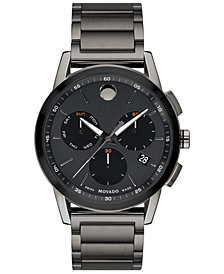 Movado Men's Swiss Chronograph Museum Sport Gunmetal PVD Stainless Steel Bracelet Watch 43mm