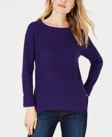 Style & Co Petite Pointelle-Knit Boat-Neck Sweater, Created for Macy's