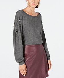 I.N.C. Petite Embellished Balloon-Sleeve Sweater, Created for Macy's