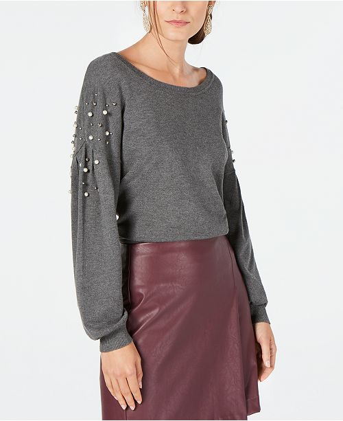 INC International Concepts I.N.C. Embellished Balloon-Sleeve Sweater, Created for Macy's