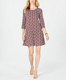 MSK Petite Puffed-Paint A-Line Dress
