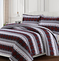 Comfy Stripe Cotton Flannel Printed Oversized King Duvet Set